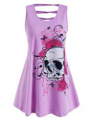 Plus Size Floral Skull Print Ladder Cutout Tank Top -