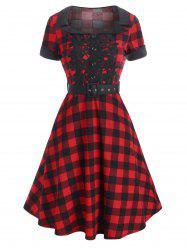 Plaid Lace Applique Cuffed Belt Vintage Dress -