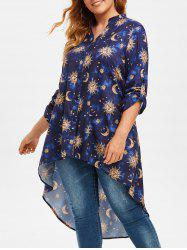 Plus Size Roll Up Sleeve Sun Moon Print High Low Blouse -