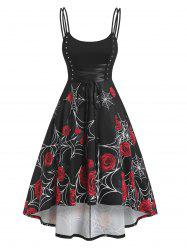 Rose Spider Web Print High Low Dress -