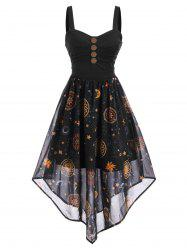 Starry Sky Button Embellished Ruched Maxi Dress -