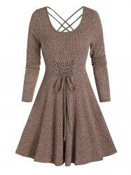 Long Sleeve Lace-up Front Mini Ribbed Dress -