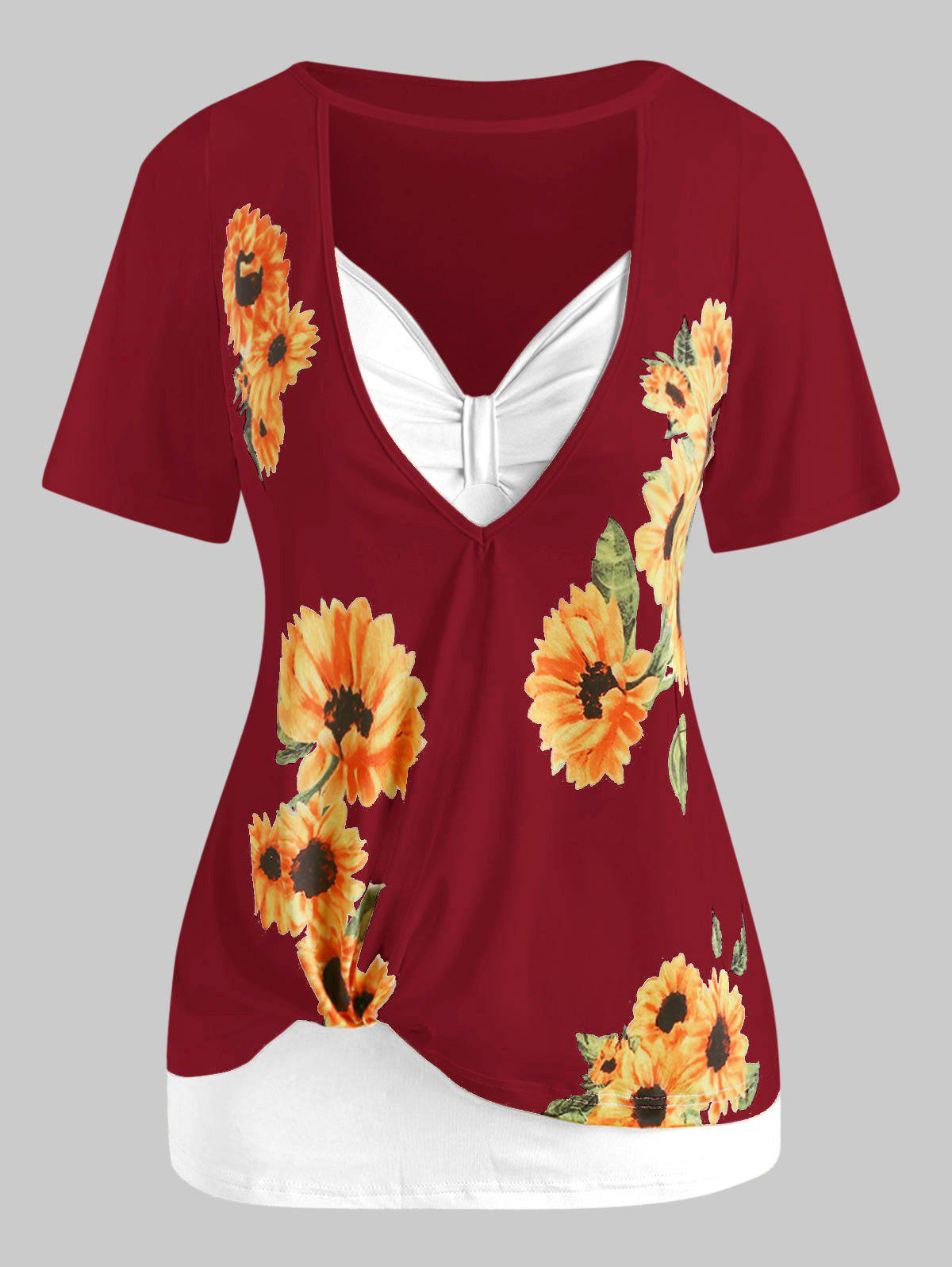 Fashion Plus Size Cutout Sunflower Print Tee and Tank Top Set