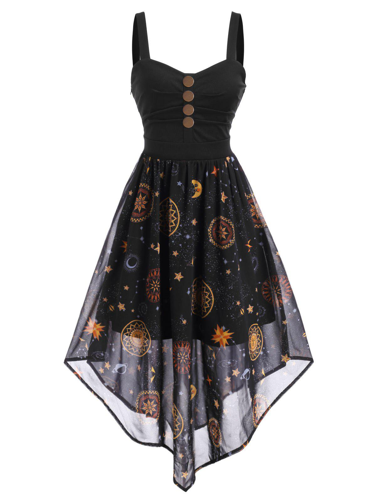 New Starry Sky Button Embellished Ruched Maxi Dress