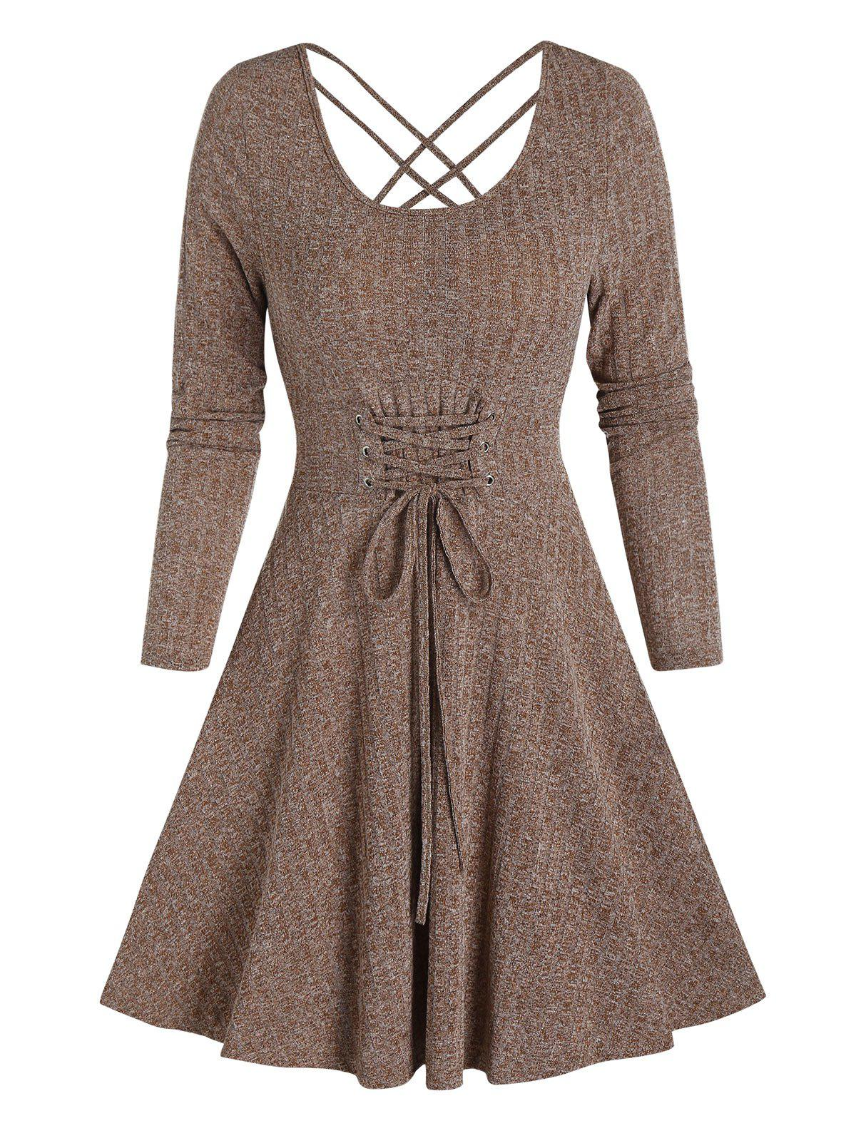 Online Long Sleeve Lace-up Front Mini Ribbed Dress