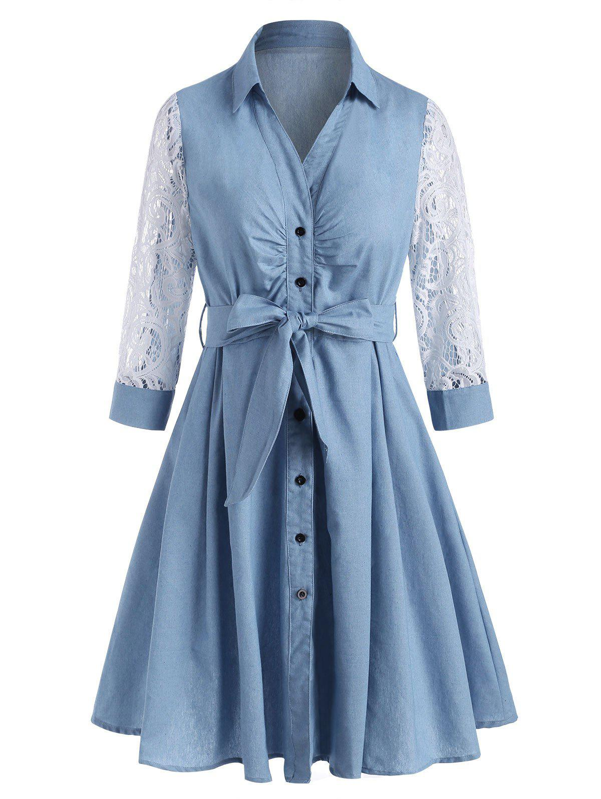 Trendy Lace Sleeve Pleated Detail Chambray Belt Shirt Dress