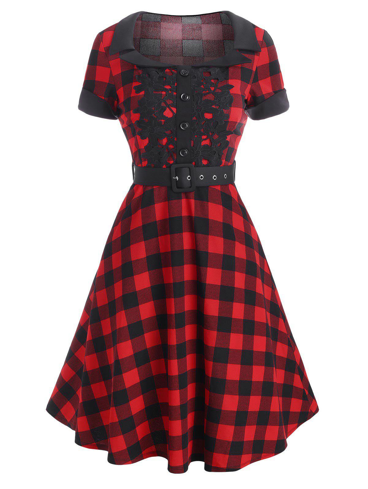 Outfit Plaid Lace Applique Cuffed Belt Vintage Dress