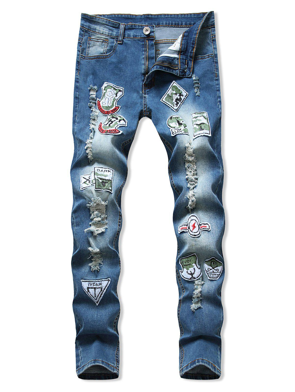 Letter Applique Ripped Pencil Denim Pants