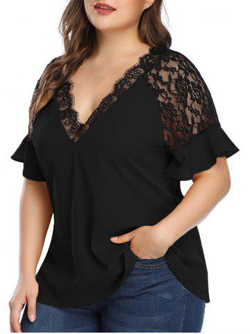 Plus Size Lace Insert Plunging Neck Blouse - BLACK - 5X