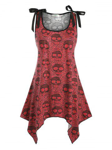 Bowknot Lace Panel Skull Halloween Plus Size Tank Top