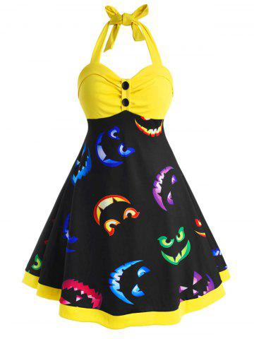 Button Front Halter Printed Halloween Plus Size Dress - YELLOW - 1X