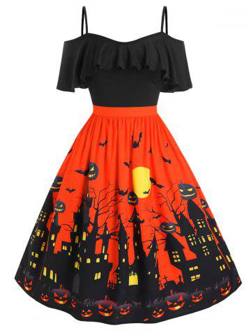 Plus Size Cold Shoulder Halloween Castle Pumpkin Flounce Dress - BLACK - 2X