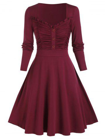 Plus Size Smocked Ruched Frilled A Line Dress - RED WINE - 3X
