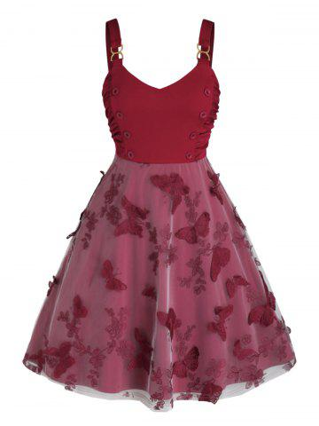 Plus Size Ruched Embroidered Butterfly A Line Dress - RED WINE - 1X