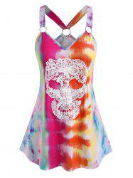 Plus Size Tie Dye O Ring Skull Lace Tank Top -