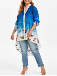 Plus Size Roll Up Sleeve Ombre Color Butterfly Print Blouse -