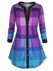 Plus Size Plaid V Bar Curved Hem Tunic Top -