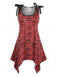 Bowknot Lace Panel Skull Halloween Plus Size Tank Top -