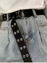 Double Row Rings Buckle Canvas Belt -