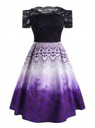 Plus Size Lace Bodice Printed Off The Shoulder Dress -