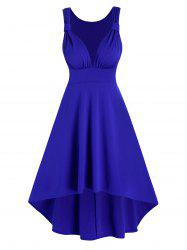 Ruched Sleeveless High Low Prom Dress -