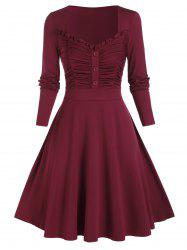 Plus Size Smocked Ruched Frilled A Line Dress -