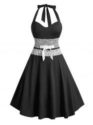 Plus Size Bowknot Lace Up Halter Dress -