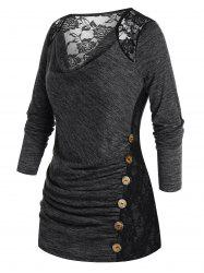 Plus Size Lace Panel Ruched Space Dye Cowl Front Tee -