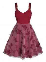 Plus Size Ruched Embroidered Butterfly A Line Dress -