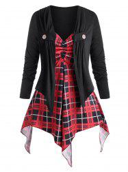 Plus Size Button Tab Top and Plaid Handkerchief Cami Top Twinset -