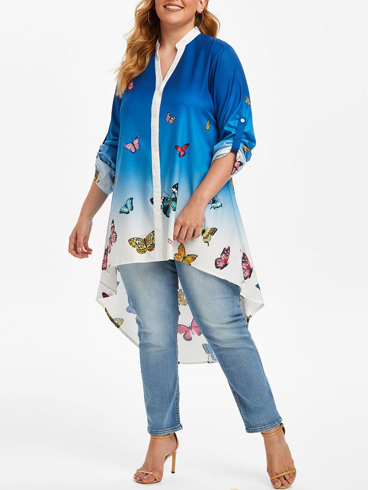 New Plus Size Roll Up Sleeve Ombre Color Butterfly Print Blouse