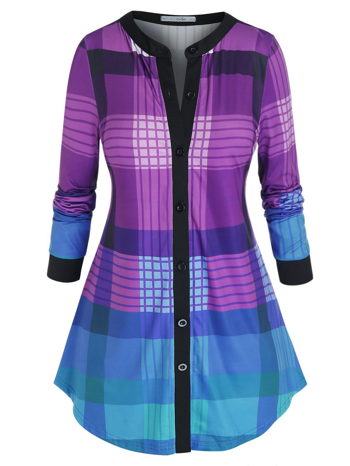 Unique Plus Size Plaid V Bar Curved Hem Tunic Top