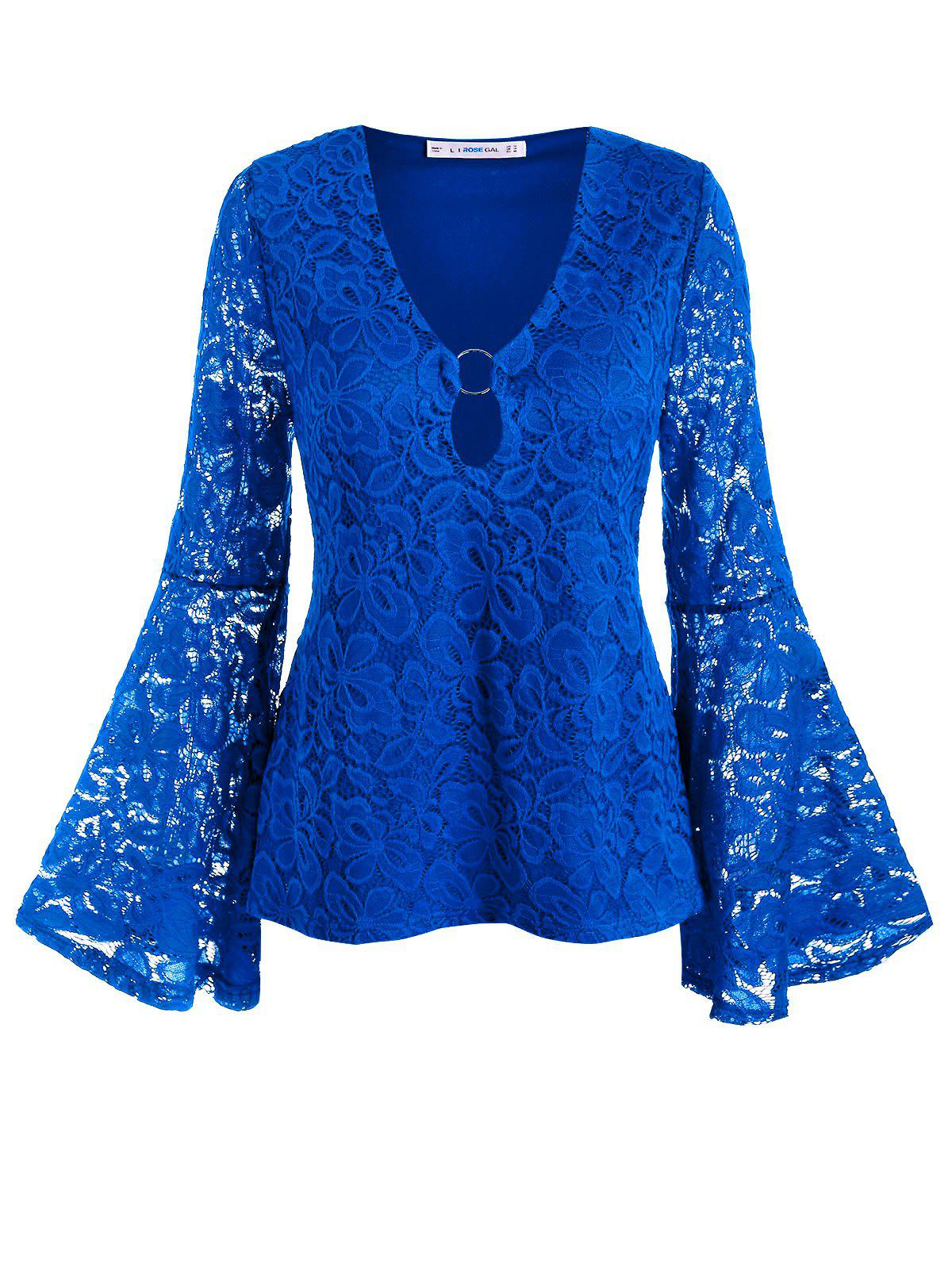 Outfit Plus Size Bell Sleeve O Ring Lace Blouse