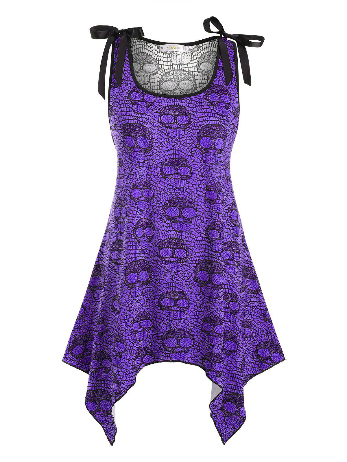Buy Bowknot Lace Panel Skull Halloween Plus Size Tank Top