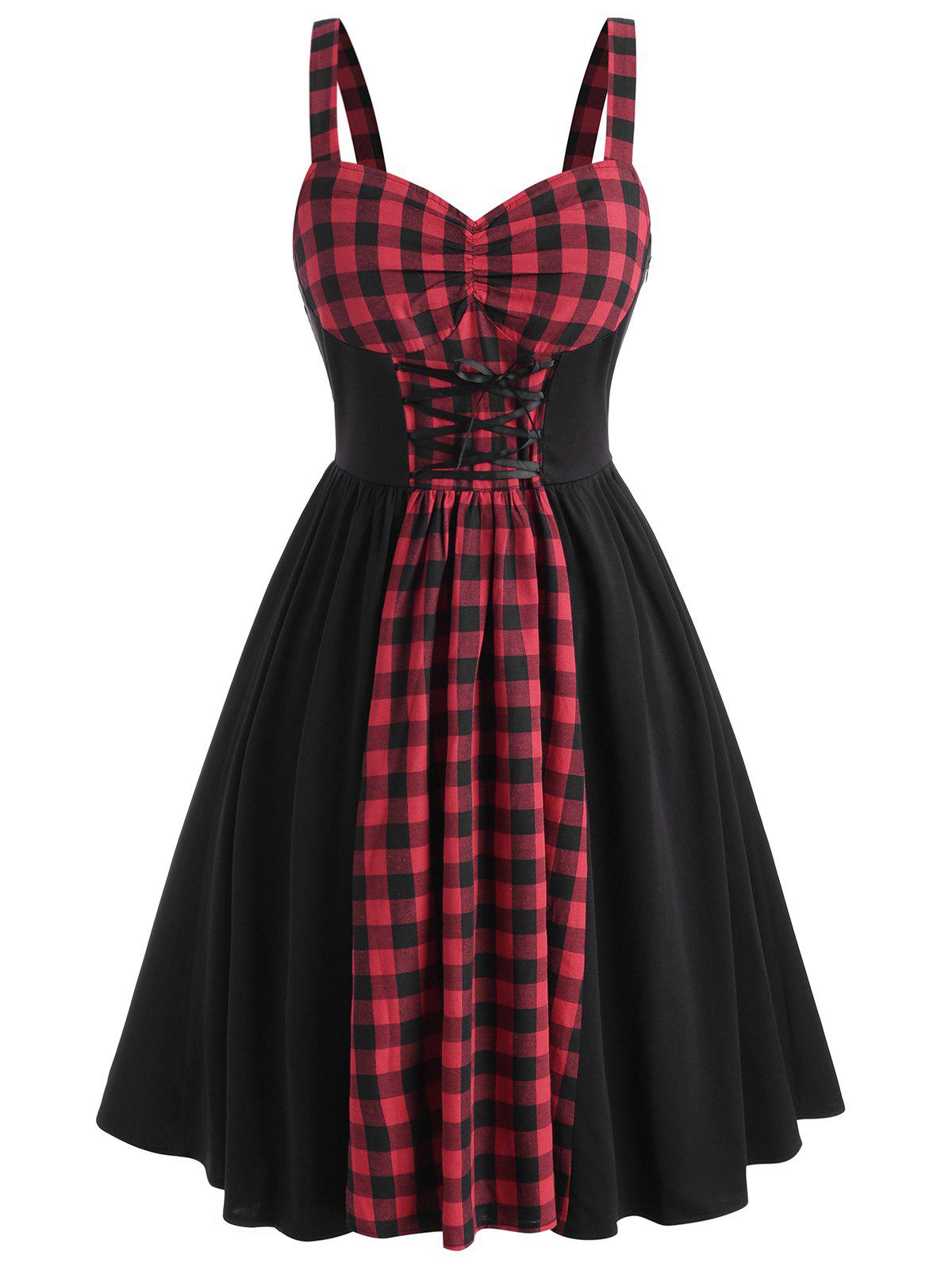 Discount Plus Size Plaid Panel Lace-up Bustier Dress