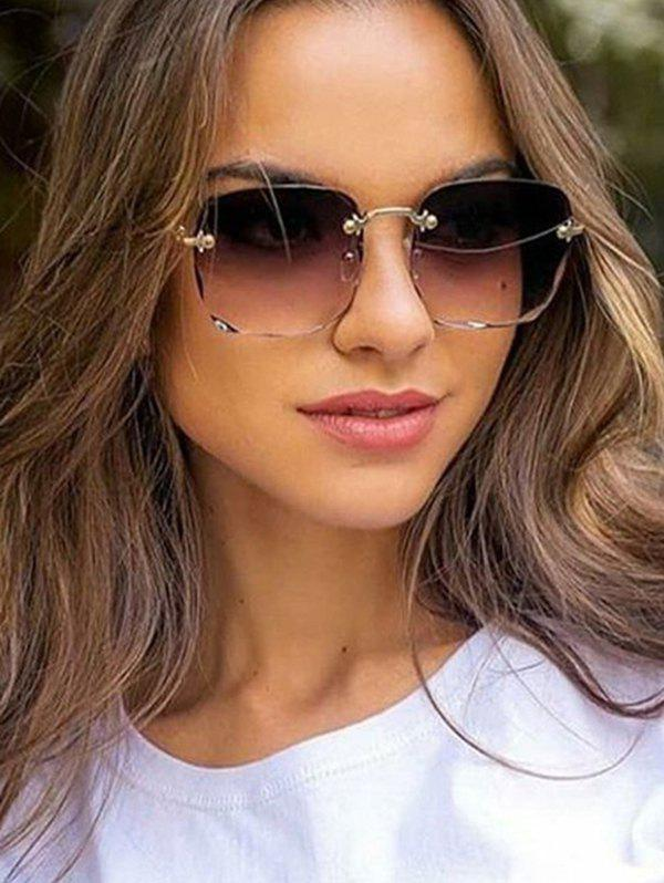 Affordable Square Gradient Cutting Edge Rimless Sunglasses