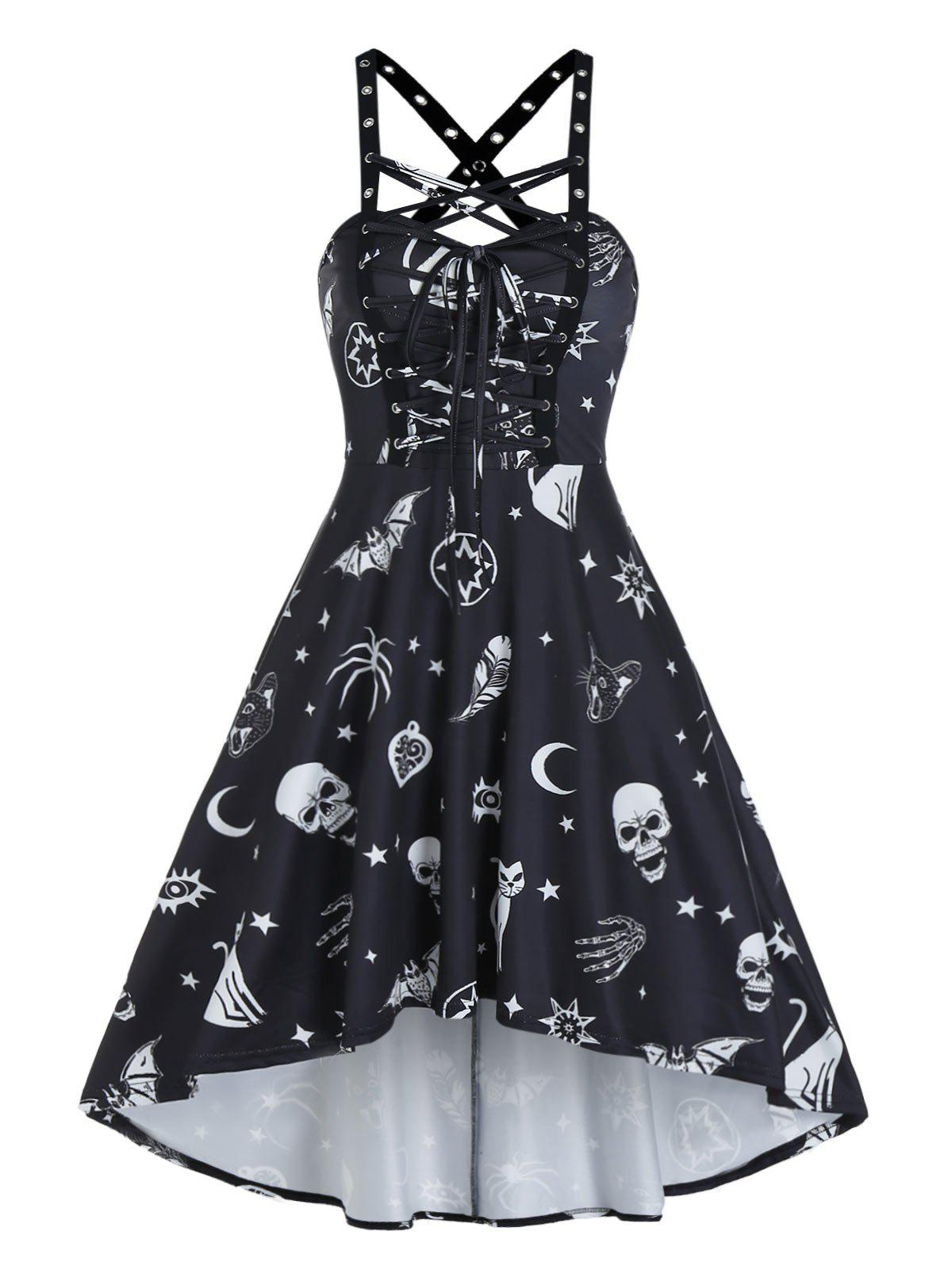 Affordable Skull Animal Print Lace Up Cami High Low Dress