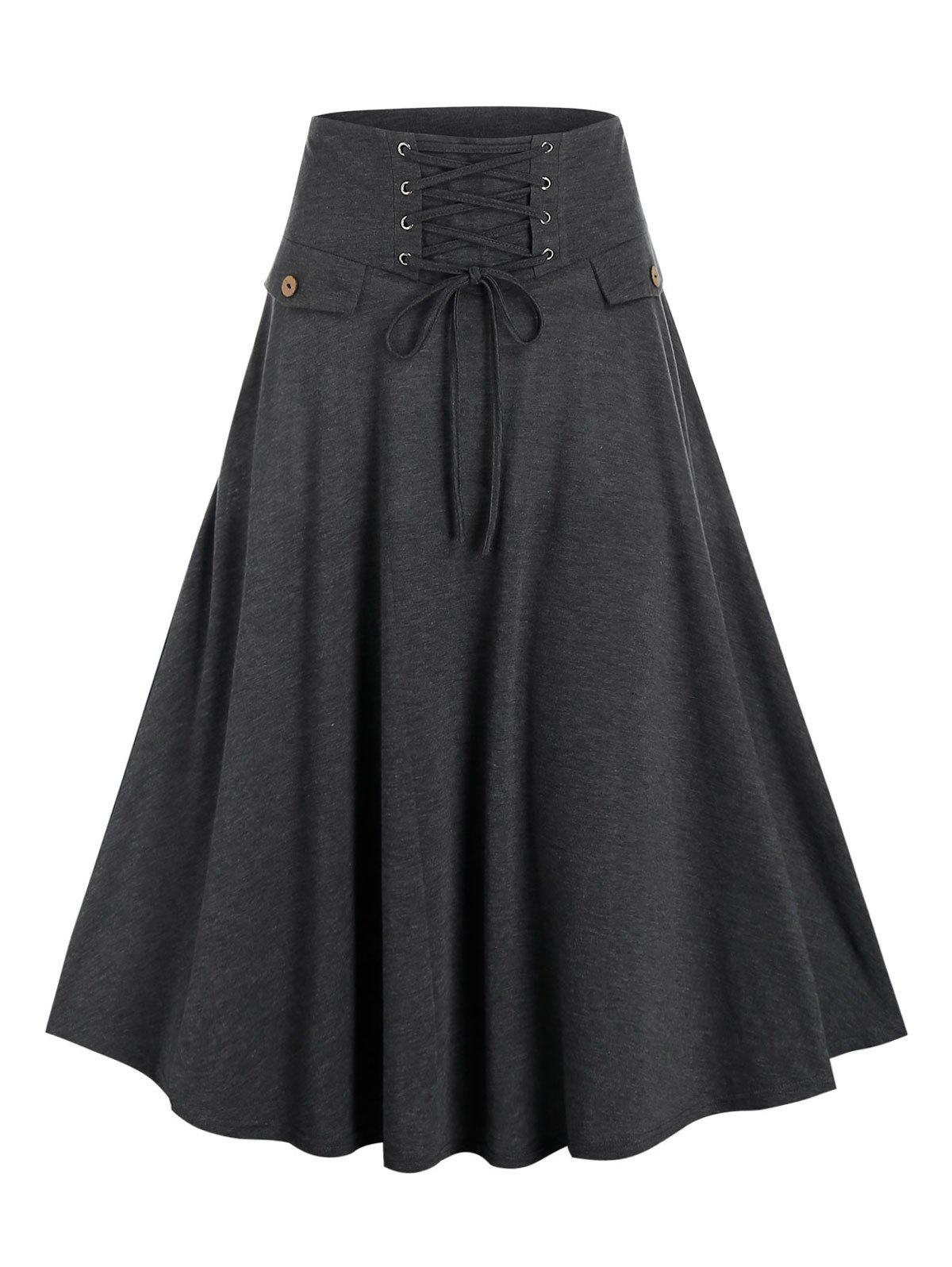 Online High Waisted Lace-up Heathered Midi Skirt