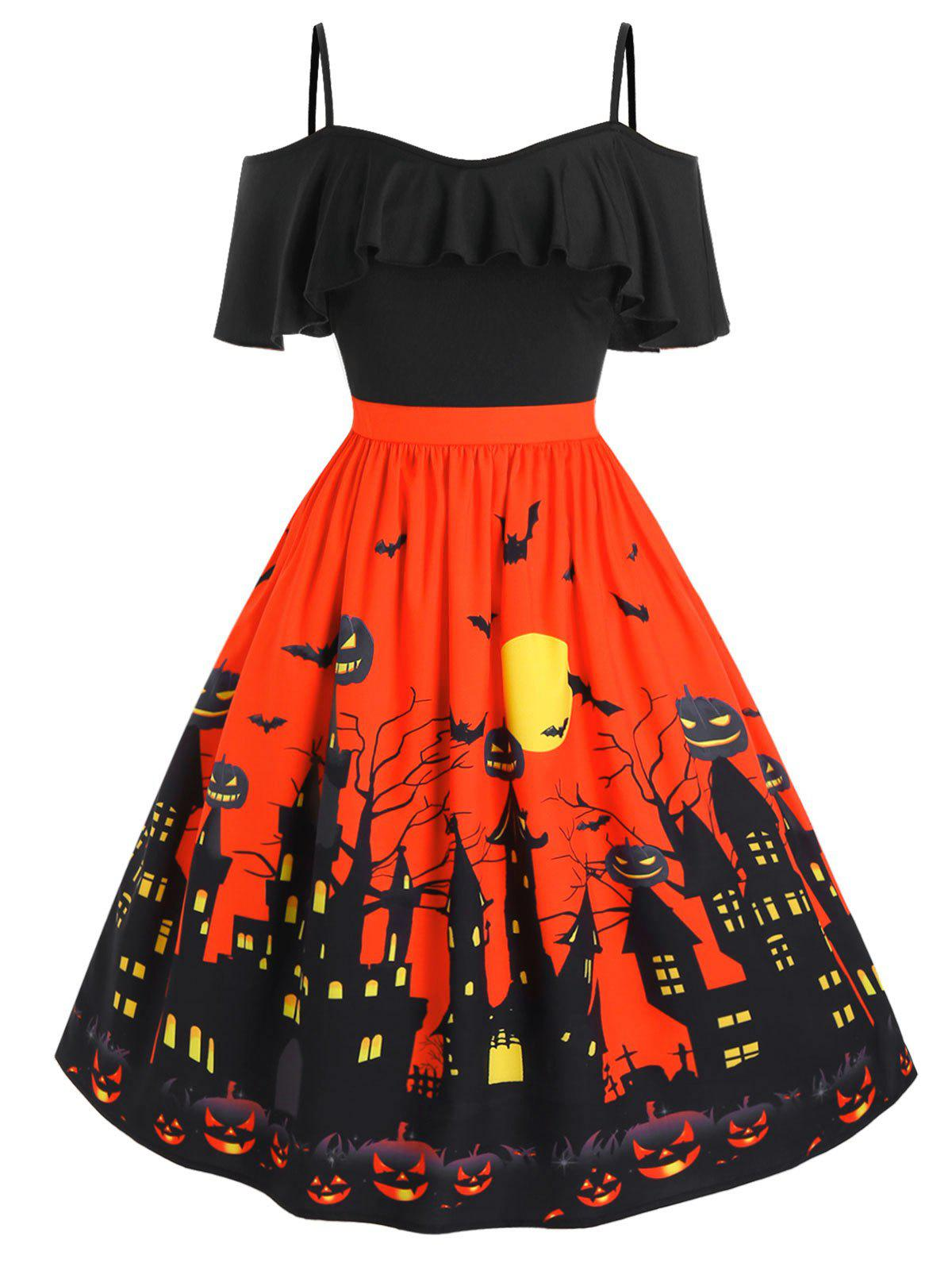 Shop Plus Size Cold Shoulder Halloween Castle Pumpkin Flounce Dress