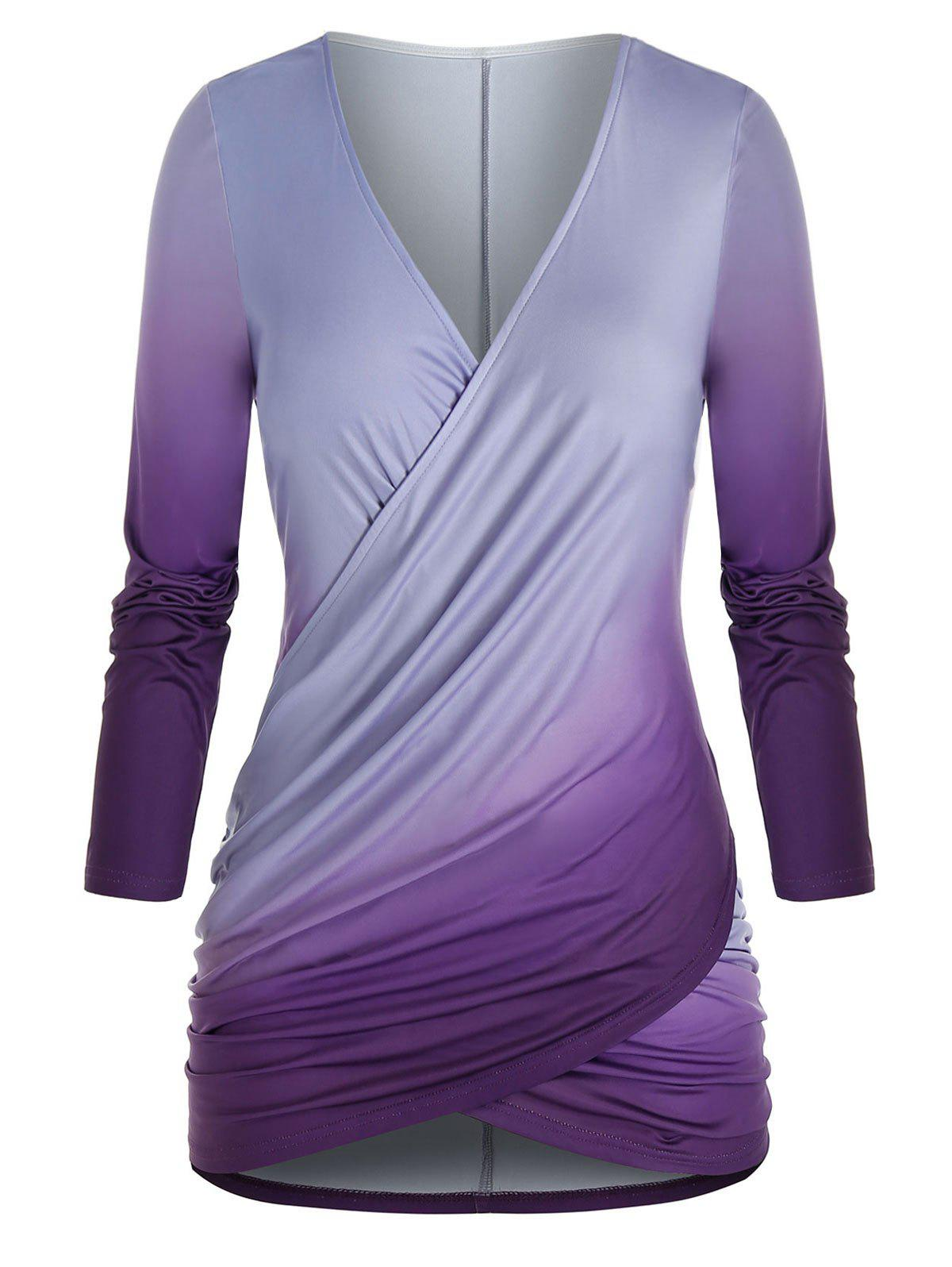 New Plus Size Crossover Ombre Color T Shirt