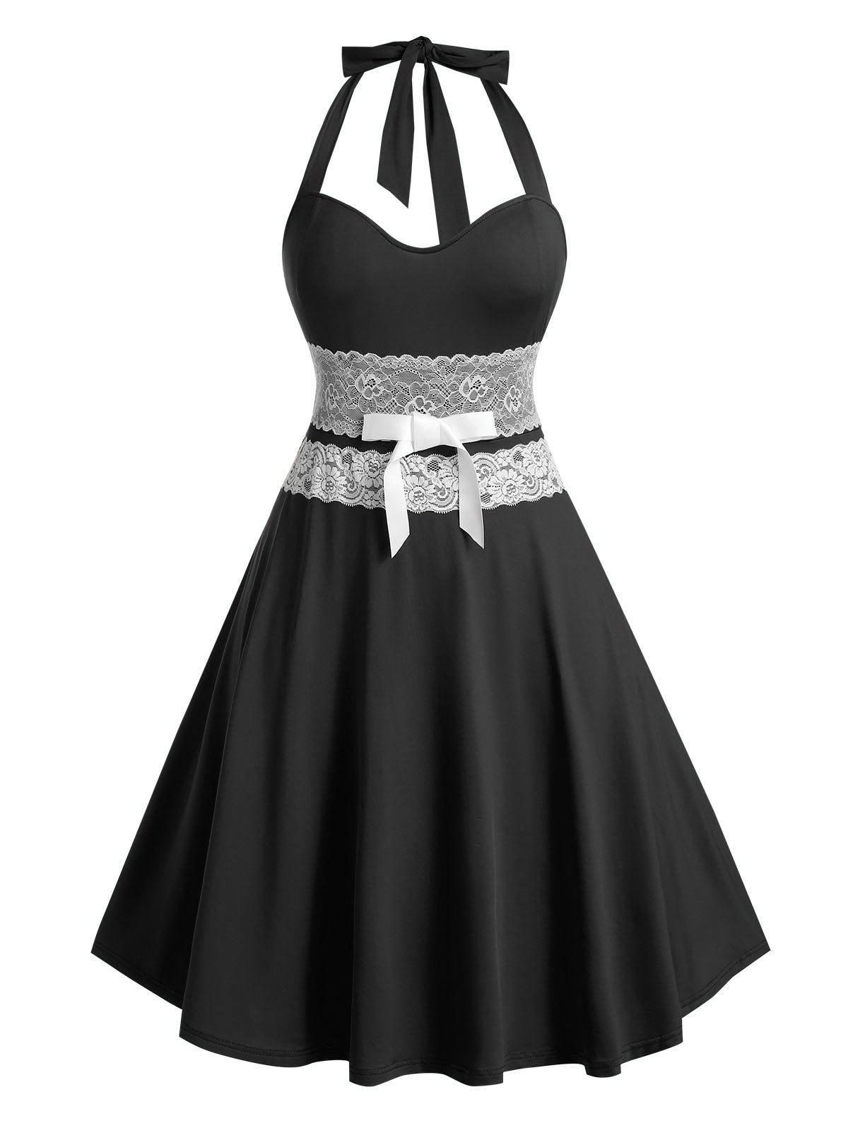 Hot Plus Size Bowknot Lace Up Halter Dress
