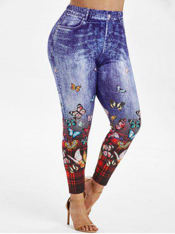 High Waisted Plaid Butterfly 3D Print Plus Size Jeggings