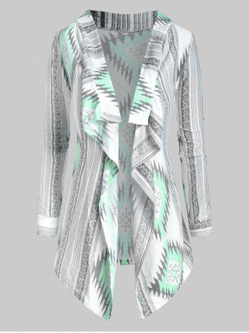 Ethnic Graphic Open Front Draped Tribal Cardigan