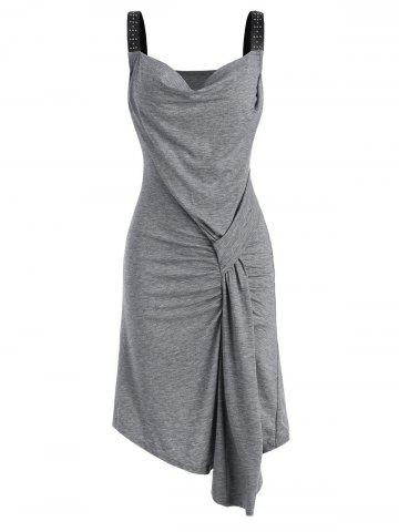 Draped Front Rived Faux Leather Straps Dress