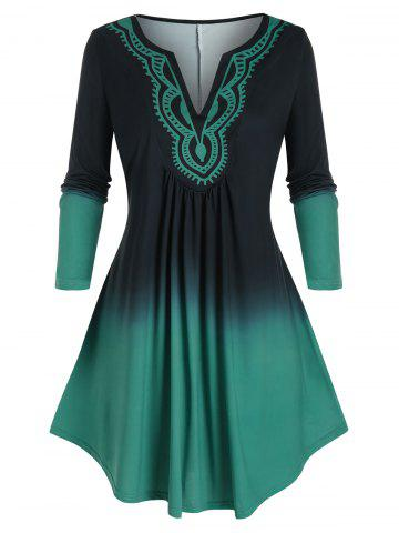 Plus Size Ombre Color Swing T Shirt - DEEP GREEN - 5X