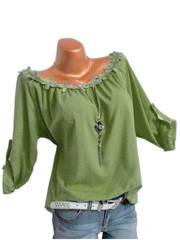 Plus Size Flower Trim Roll Up Sleeve Top - GREEN - 5XL