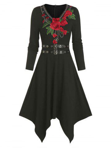 Floral Embroidery Buckle Belted Asymmetrical Dress