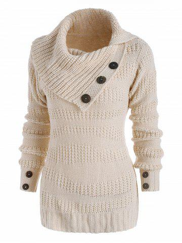 Mix Yarn Mock Button Irregular Turn Down Collar Sweater - WHITE - 2XL