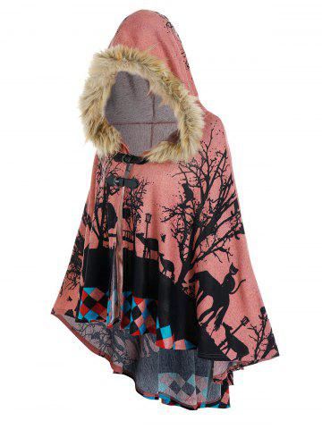 Forest Cat Print Hooded High Low Cape - LIGHT PINK - M