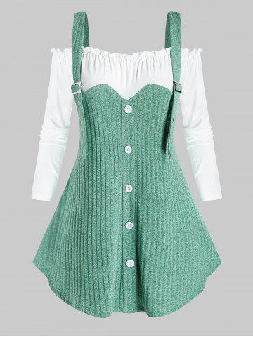 Plus Size Two Tone 2 In 1 Cold Shoulder Frilled Knitwear - SEA GREEN - 3X